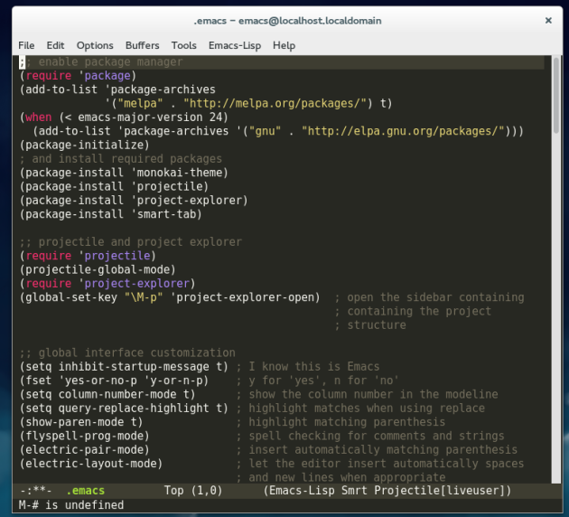 GNU Emacs running on Fedora 21